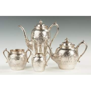 James Ross, Glasgow, English Sterling Silver 4-Piece Tea Set