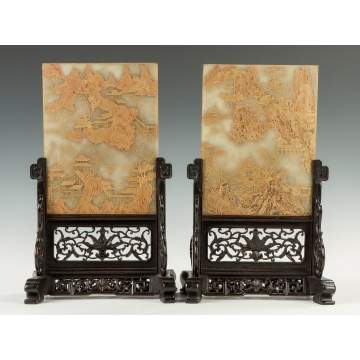 A Fine Pair of Chinese Gold Leaf and Painted Jade Table Screens