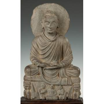 Gandahara Grey Schist Carved Buddha