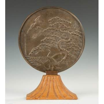 Asian Relief Bronze Mirror with Herons in Landscape