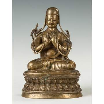 Gilt Bronze Figure of a Tibetan Sakya Lama