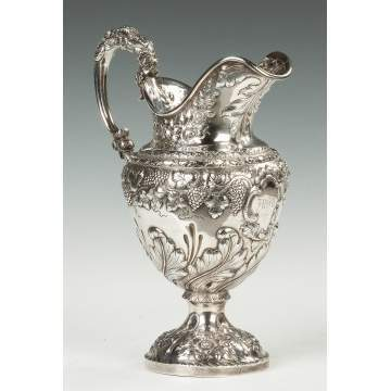 Early Samuel Kirk Sterling Silver Water Pitcher, Baltimore