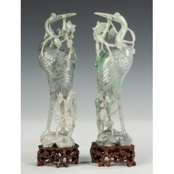 Pair of Chinese Jade Storks