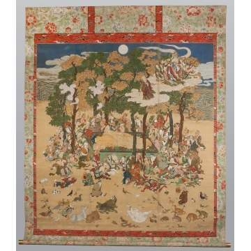 "Japanese The Mourning of Buddha ""Nehan"" Painting on Silk"