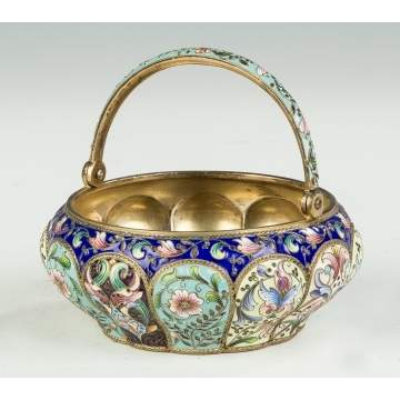 Russian Enameled Silver Basket