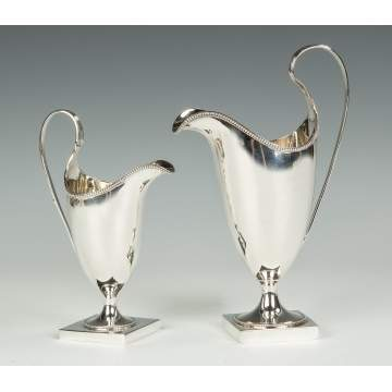 Two Hester Bateman Sterling Silver Creamers