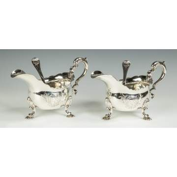 Pair of George II Sterling Silver Sauce Boats and Spoons