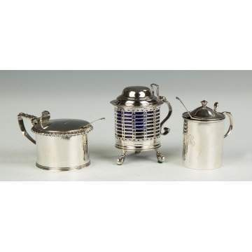 Three English Sterling Silver Mustard Pots
