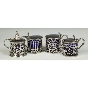 Four English Sterling Silver Mustard Pots
