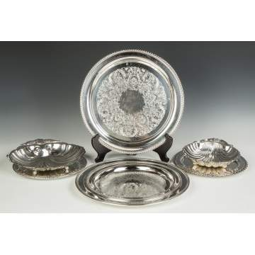 Group of Various Silver Plate Serving Trays