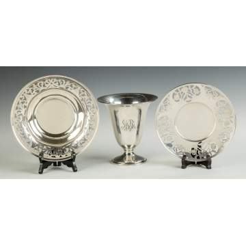 Sterling Silver Bowl, Vase & Tray