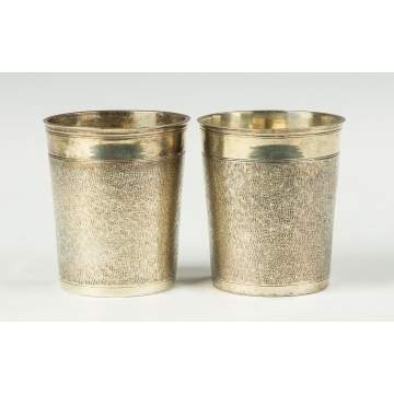 A Pair of 17th Century German Parcel Gilt Beakers