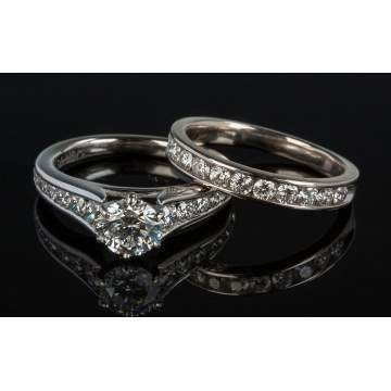 14K White Gold and Diamond Engagement Ring and Band