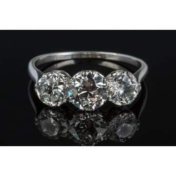 Ladies Platinum and Three-Diamond Vintage Ring