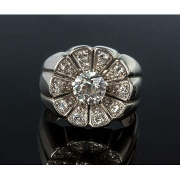 14K White Gold and Diamond Custom Made Ring