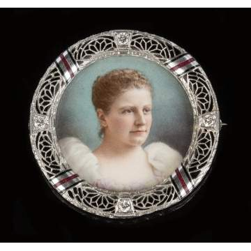 14K Gold, Diamond & Enameled Brooch with Miniature Portrait