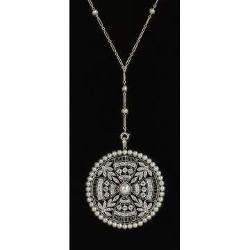 "Platinum, Diamond and Pearl Edwardian Era ""Y"" Chain Necklace"