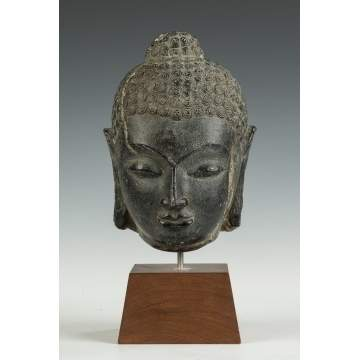 Early Chinese Carved Stone Head of Buddha