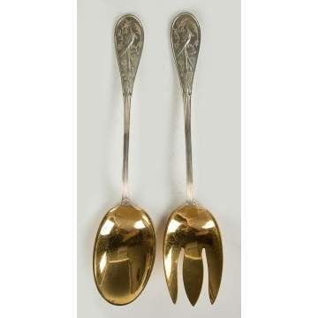 Tiffany & Co. Sterling Silver Serving Spoon and Fork - Audubon Pattern