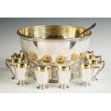 Bailey Banks and Biddle Sterling Silver Punch Bowl with Gold Wash