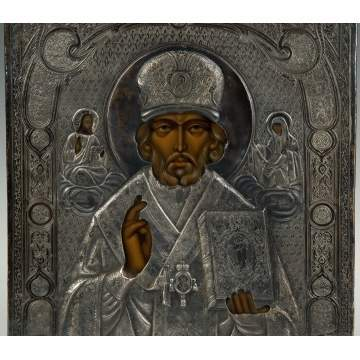 Russian Icon, Patinaed Metal and Hand Painted