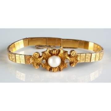 14K Gold, Pearl & Diamond Bracelet