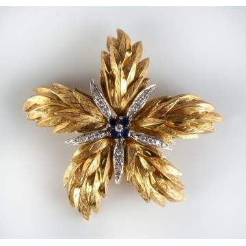 Tiffany & Co. 18K Gold, Diamond & Sapphire Floral Brooch