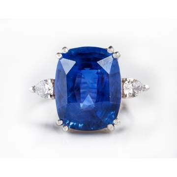 Sapphire & Diamond Ring in a Platinum Setting