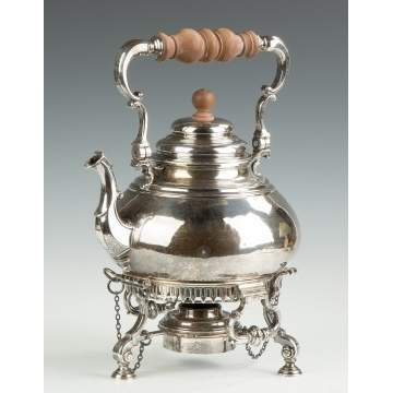 Richard Comyns, London, Georgian Style Sterling Silver Kettle on Stand