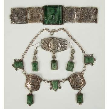 Egyptian Revival Silver and Hardstone Necklace, Bracelet, Pendant and Earrings