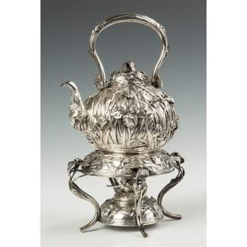 Japanese Export Silver Kettle on Stand