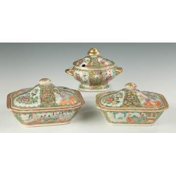 Two Chinese Export Rose Medallion Covered Serving Dishes and a Sauce Tureen