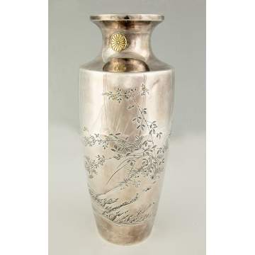 Japanese Sterling Silver and Mixed Metal Vase