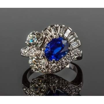Vintage Kashmir Sapphire and Diamond Ring