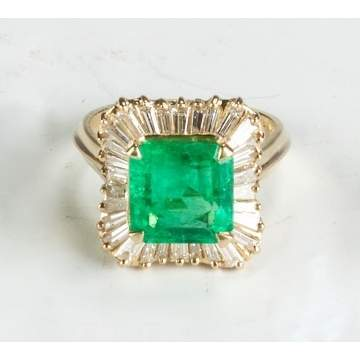 Emerald, Diamond and 18K Yellow Gold Ring