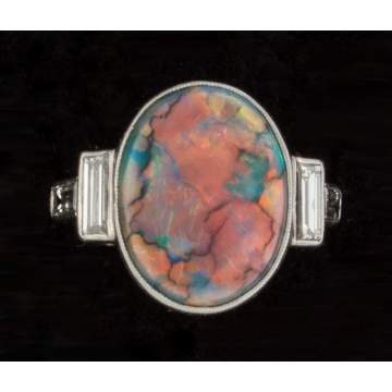Australian Black Opal, Diamond & Platinum Art Deco Ring