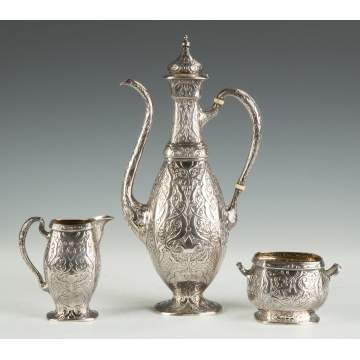 Gorham Martele Sterling Silver Three Piece Coffee Set - Japanese/Persian Motif