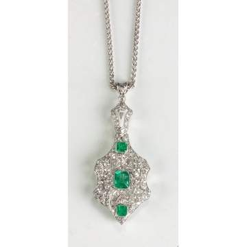 Platinum Antique Edwardian Style Diamond and Natural Emerald Pendant/Brooch