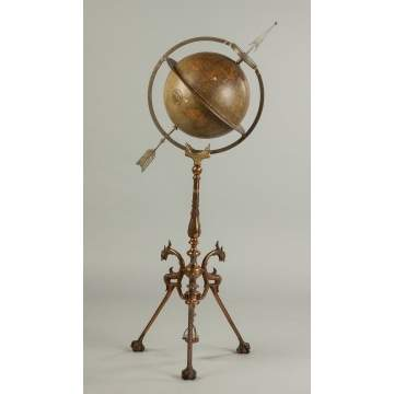 Juvet and Co. Canajoharie, NY, Floor Model Globe Clock