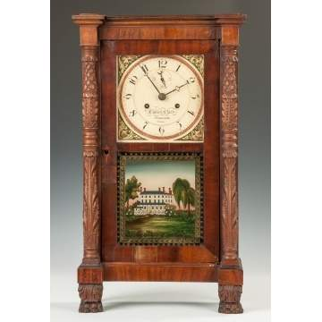 Curtis and Clark Carved Column Miniature Shelf Clock