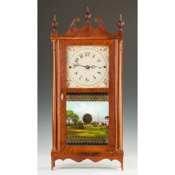 Erastus Hodges Miniature Pillar and Scroll Shelf Clock