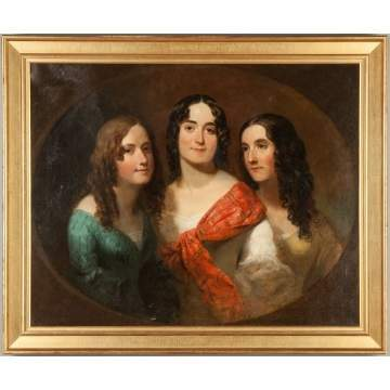 Portrait of Three Ladies in the Style of Thomas Sully (American, 1783-1872)