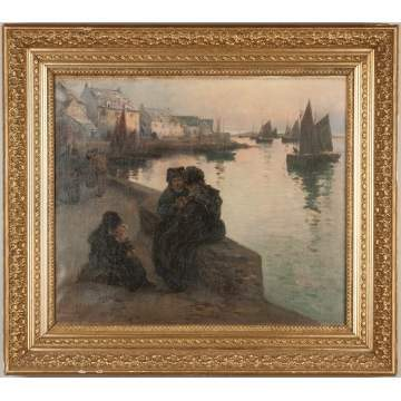 Fernand Marie-Eugene Legout-Gerard (French, 1856-1924) Harbor Scene with Women and Children