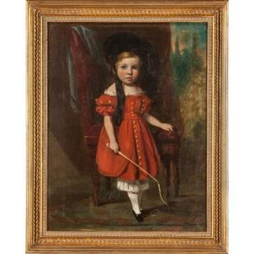 Portrait of a Boy in Red Dress with Whip