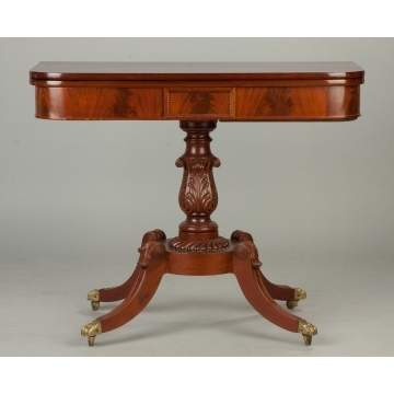 American Federal Figured Mahogany Card Table