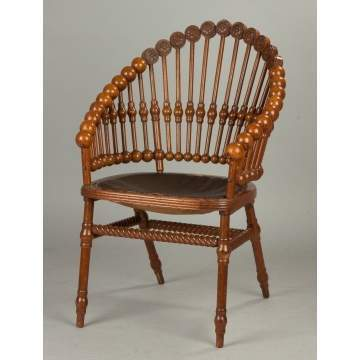 George Hunzinger Carved Oak Lollypop Chair