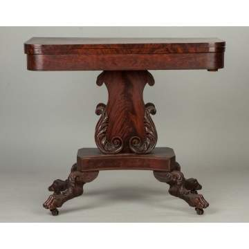 American Figured Mahogany Card Table