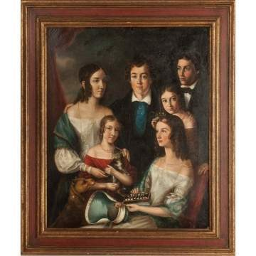 Portrait of a Six Young People with Cat, Dog and Musical Instrument