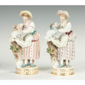 Pair of Meissen Women with Lambs