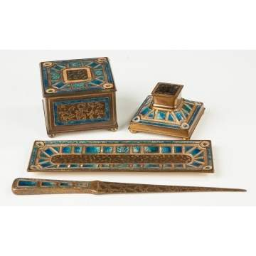 Tiffany Amp Co Bronze And Enameled Desk Set Cottone Auctions